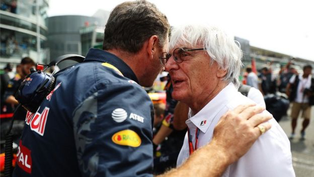 Red Bull Racing Team Principal Christian Horner talks to F1 boss Bernie Ecclestone