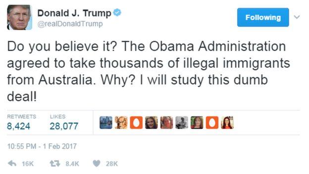 Trump aliandika kwenye Twitter