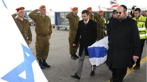 Coffins of Israeli victims are prepared for transfer to Israel at Ataturk Airport, 20 March 2016.