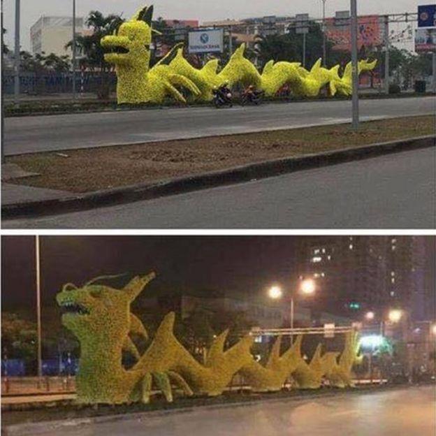 Mô hình rồng trước và sau khi sửa được đăng trên Facebook Hải Phòng