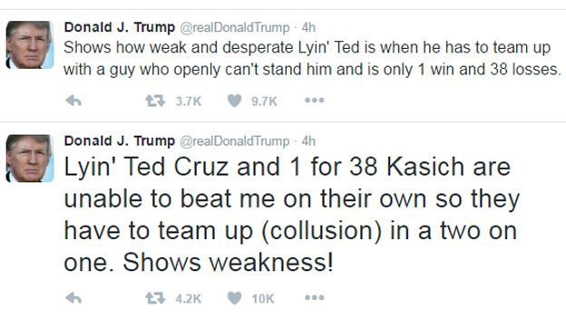 Shows how weak and desperate Lyin'Ted is when he teams up with a guy who can't openly stand him and is only 1 win and 38 losses - Trump