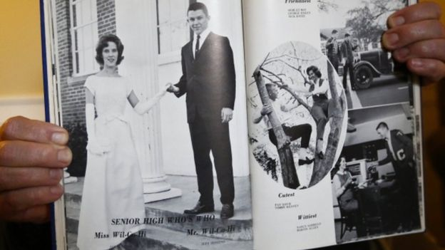 A year book showing a photo of Jeff Sessions in his graduating Wilcox County High School