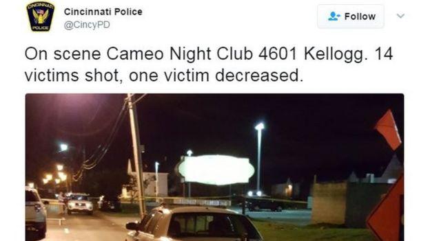 El trino de la policía de Cincinnati con el número de víctimas.