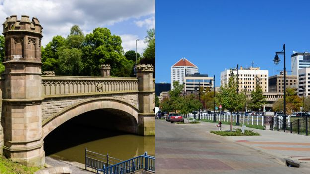 Bridge in Leicester and skyline of Wichita