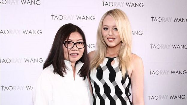 New York, USA, September 12, 2017: Taoray Wang and Tiffany Trump pose backstage at the Taoray Wang fashion show during New York Fashion Week.