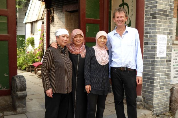 Michael Wood outside the entrance of the Wangjia Alley mosque