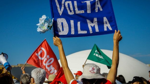 Manifestação em apoio à presidente Dilma Rousseff em agosto de 2016