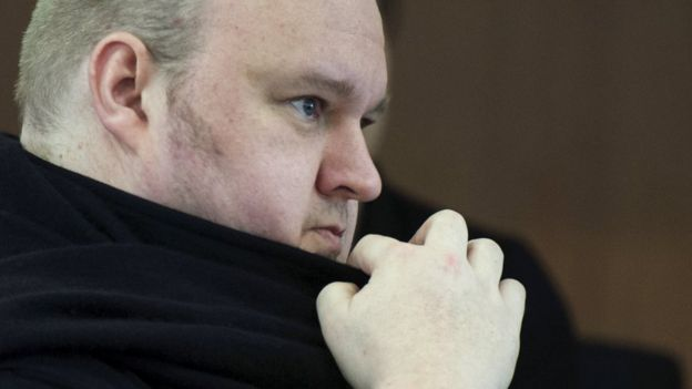 German tech entrepreneur Kim Dotcom appears in an Auckland court, 23 December 2015