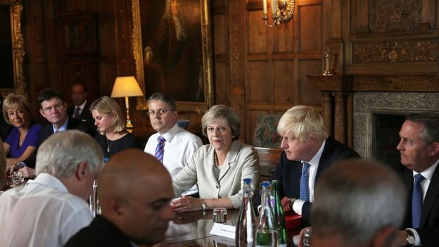 Theresa May y Boris Johnson en una reunión
