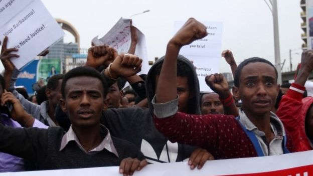 Protesters in Addis Ababa