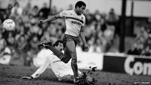 John Barnes of Watford and Ian Rush of Liverpool in the second game on English TV screens in 1985/86
