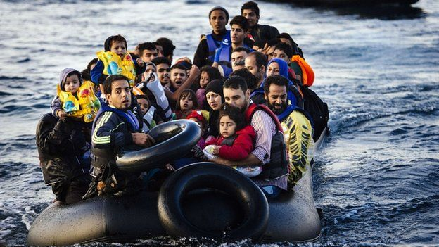 Migrants arriving