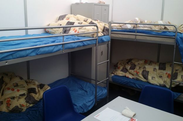 Bunk beds in the inflatable dome in Munich