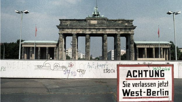 A sign in front of the Berlin Wall and Brandenburg Gate reads