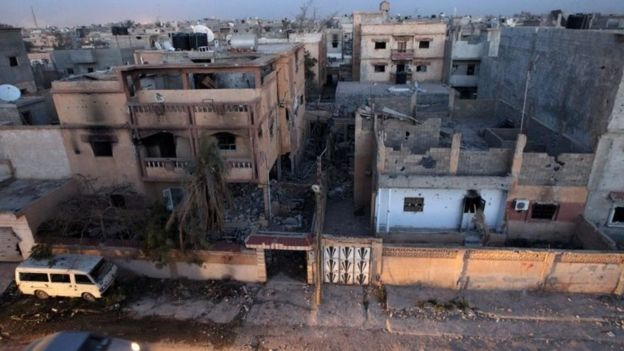 War-damaged buildings in the centre of the eastern coastal city of Benghazi (27 February 2016)