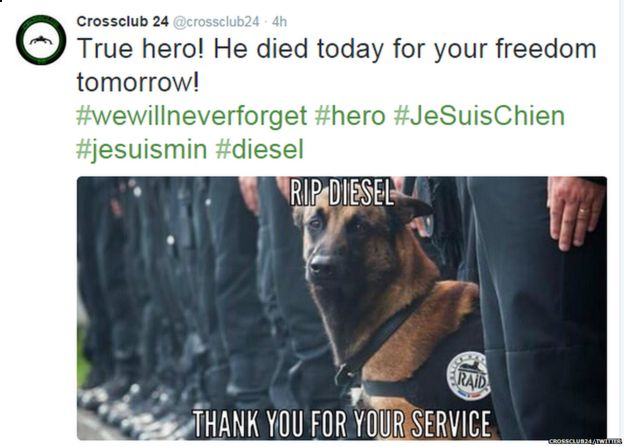 Tweet showing image of police dog with the slogan