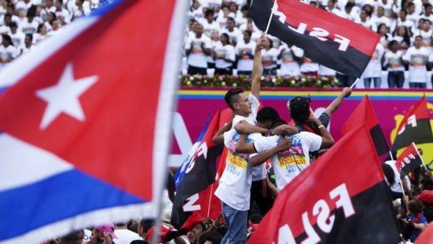 Supporters of Nicaraguan President Daniel Ortega in Managua (19 July 2016)