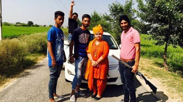 Sadhvi Deva Thakur with some of her followers
