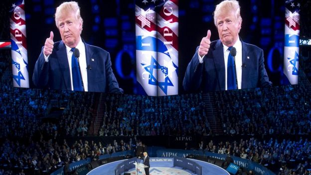 This file photo taken on March 21, 2016 shows US Republican presidential hopeful Donald Trump addressing the American Israel Public Affairs Committee (AIPAC) 2016 Policy Conference in Washington, DC,