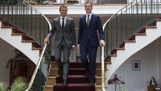 French Economy and Industry Minister Emmanuel Macron (L) and British counterpart, British Chancellor of the Exchequer George Osborne (R)