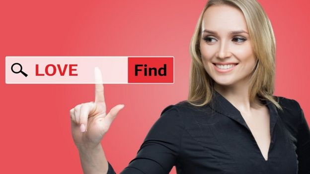 Woman click on      love      search