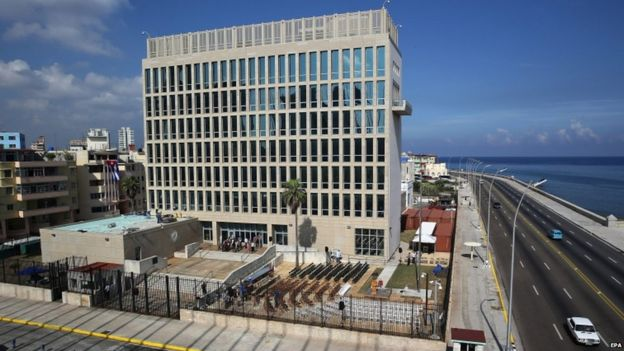 Preparations for the US embassy reopening ceremony in Havana