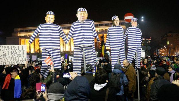 Protesta contra la corrupción en Rumania