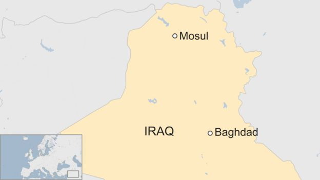 map showing Baghdad and Mosul in Iraq