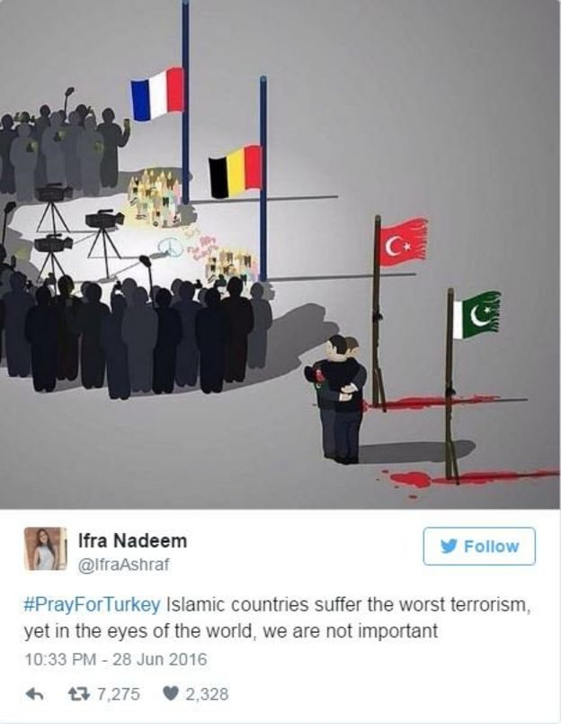 A Tweet with a picture of French and Belgian flags on a pole with a gathering of media focused on them and to the side Turkish and Pakistani flags with blood below them and two lone men hugging.