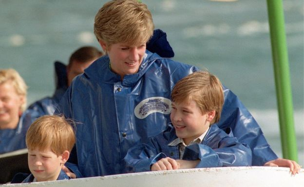 Princess Diana with Prince William (right) and Prince Harry in 1991