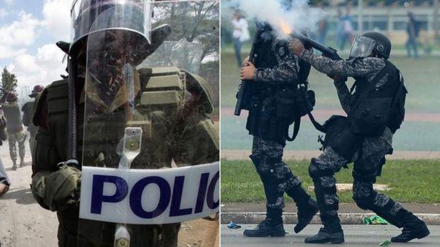 Riot police in Nairobi and Brasilia