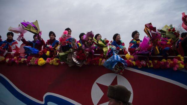 12月6日,朝鮮為獲得20歲以下女足世界杯冠軍的球員舉行盛大慶祝儀式。
