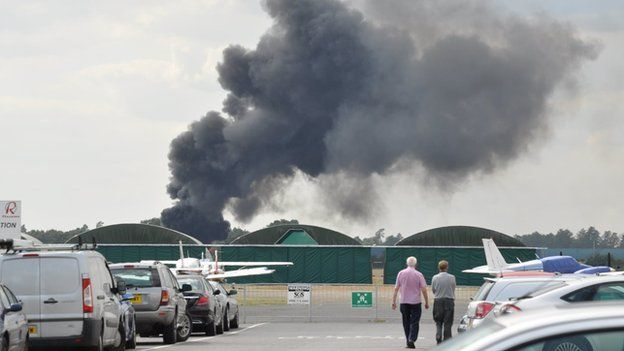 Plume of smoke from the crashed aircraft