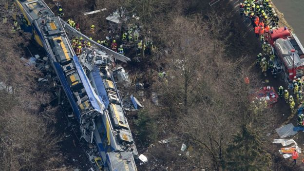 Aerial view of train crash. 9 Feb 2016