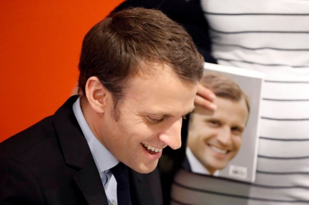 Emmanuel Macron attends an autograph session for his book Revolution in Paris, France, 24 November