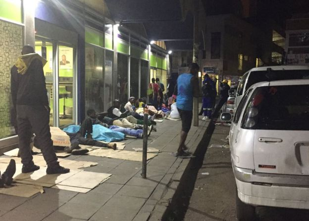 People sleeping on the streets of Harare
