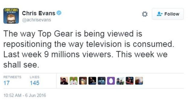 Chris Evans's tweet