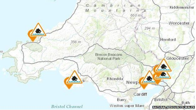 four flood alerts are put in place across south wales. Black Bedroom Furniture Sets. Home Design Ideas