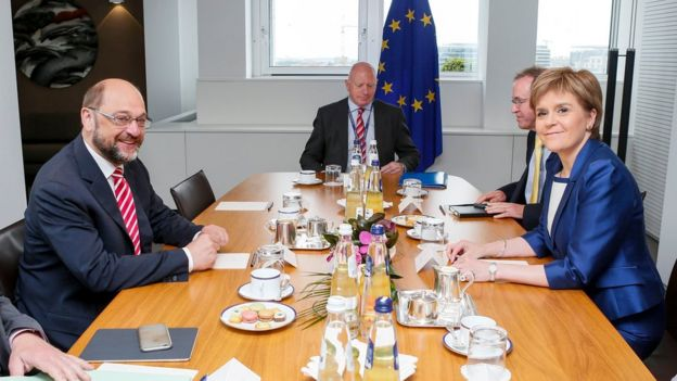 European Parliament President Martin Schulz (left) meets Nicola Sturgeon (right) in Brussels)