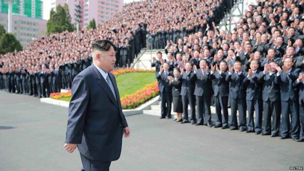 North Korean leader Kim Jong-un in front of crowds