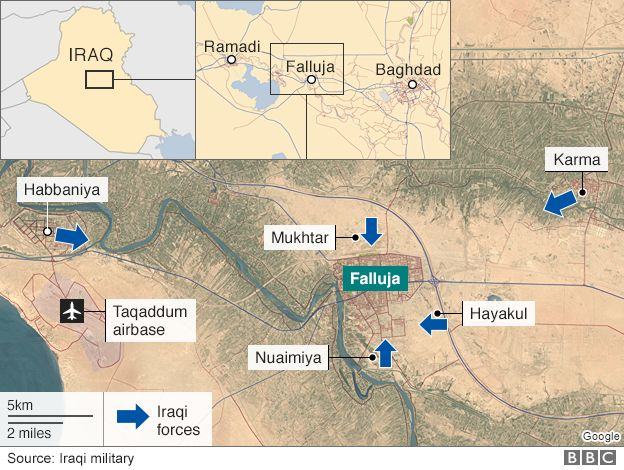 Map showing movement of Iraqi forces towards Falluja (24 May 2016)