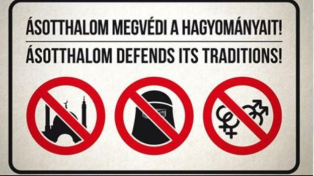 Sign in Asotthalom showing that mosques and Muslim veils are banned