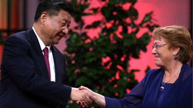 Xi Jinping y Michelle Bachelet