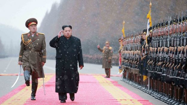 North Korean leader Kim Jong Un saluting during a visit to the Ministry of the People