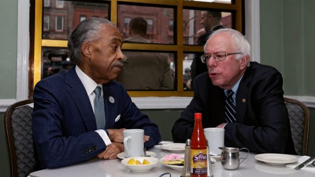 Al Sharpton and Bernie Sanders