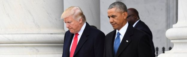 Donald Trump and Barack Obama, 20 Jan
