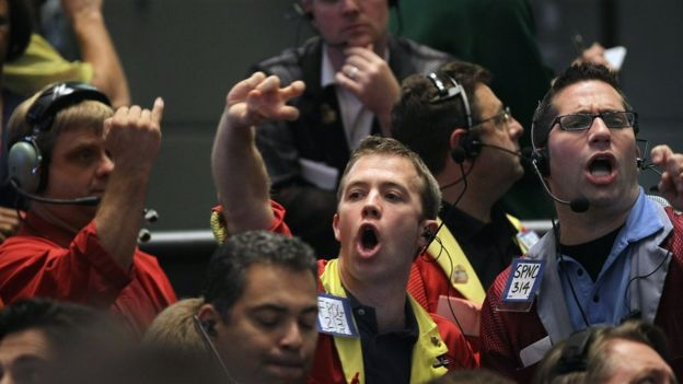 Trader in the Eurodollar pit of the CME