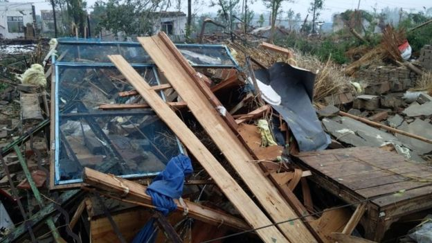 Damaged houses are seen after a tornado hit Funing county, Yancheng, Jiangsu province, China June 23, 2016