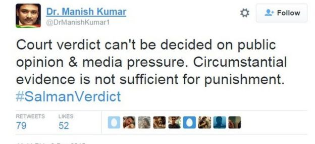 Court verdict can't be decided on public opinion & media pressure. Circumstantial evidence is not sufficient for punishment. #SalmanVerdict