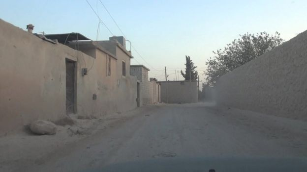Approach to internment camp in Idlib, Syria, where Islamic State defectors and captured militants are being held